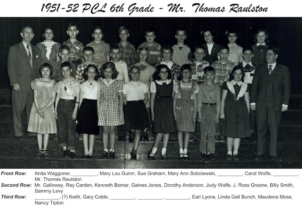 1951_1952_PCL_6th_Grade_Mr_Raulston