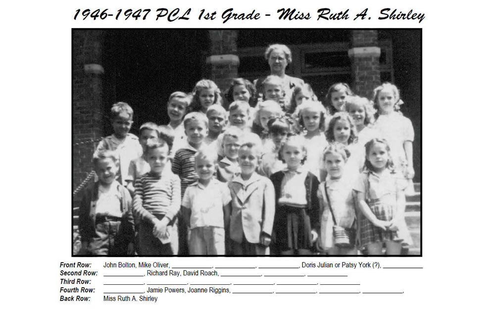 PCL_1946_47_1st_Grade_Miss_Ruth_Shirley