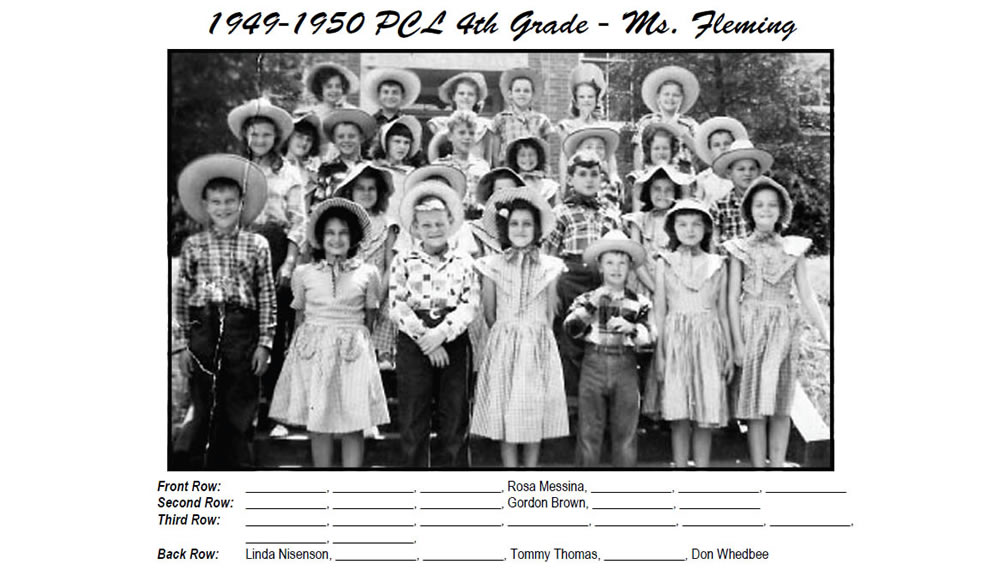 PCL_1949_50_4th_Grade_w_Hats_Ms_Fleming