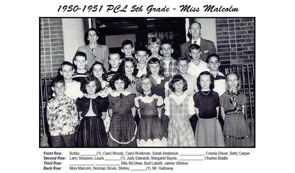 PCL_1950_51_5th_Grade_Miss_Malcolm