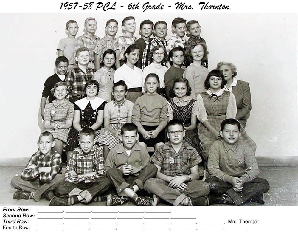 1957_58_PCL_6th Grade_Mrs_Thornton